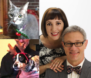 McVirgo Manor Christmas Photo 2013: Piccolo Kitty, Lucky Dog, MMN & McDoc